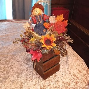 Fall Scarecrow & Leaves Centerpiece